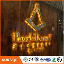 aliexpress 3D outdoor advertising sign led illuminated letters stainless steel backlit signs