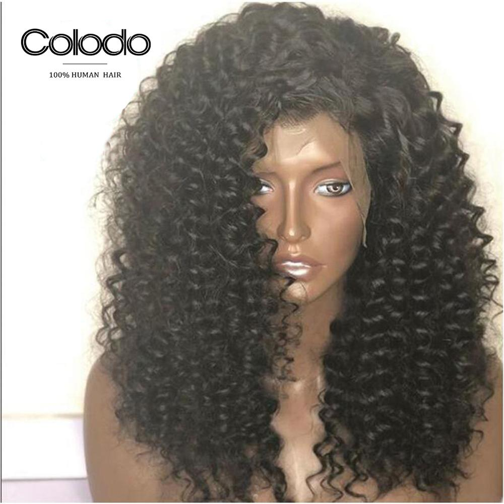 COLODO Curly Human Hair Wig with Baby Hair Pre Plucked Side Part Brazilian Remy Hair Lace