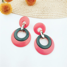 Trendy Earrings European and American Fashion Simple Acrylic Resin Geometric Round Pendant Wholesale