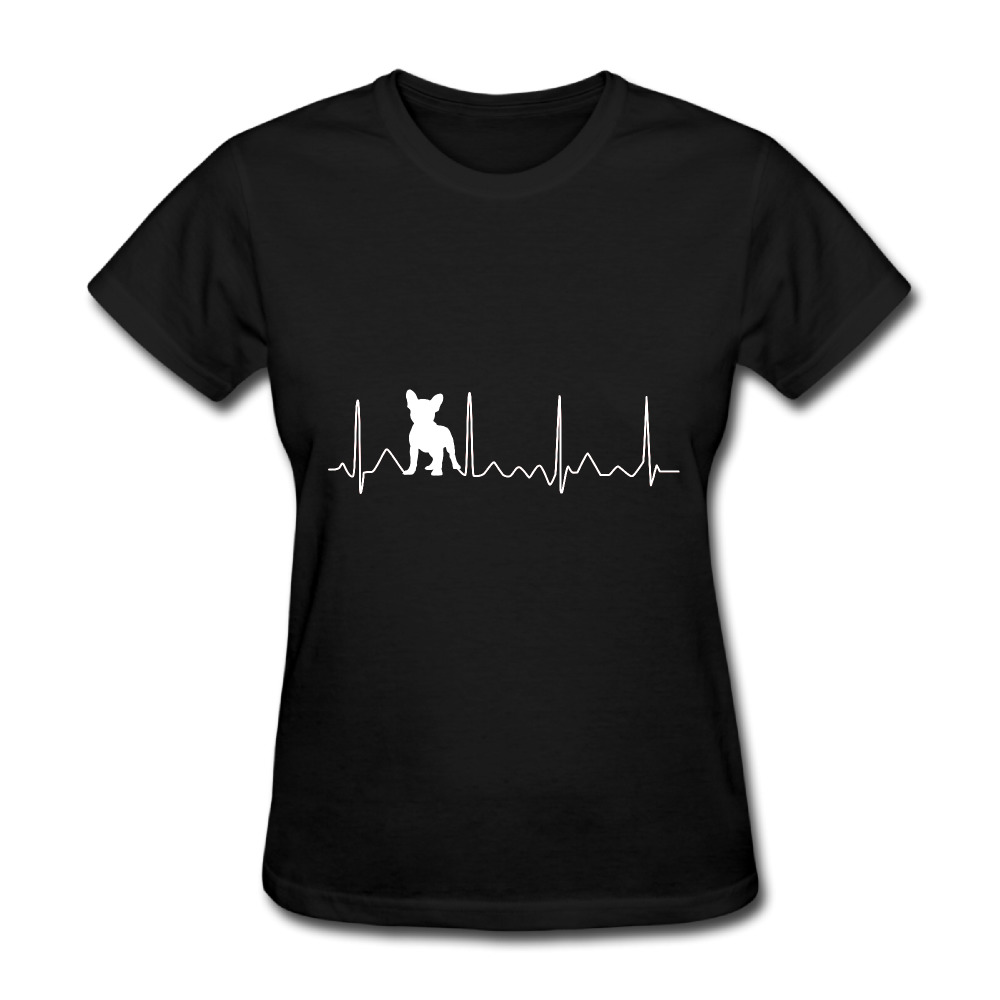 Aspiring New Fashion French Bulldog Heartbeat T Shirts Women Cotton O Neck Lifeline Woman Tops Tee Short Sleeve Fitness T-shirt Cleaning The Oral Cavity.
