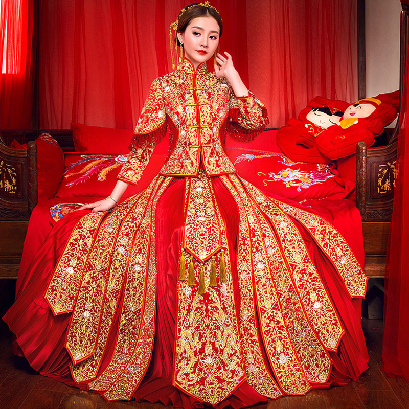 Oriental Chinese Traditional Wedding Dress Women Phoenix Embroidery Cheongsam Red Silk Qipao Bride Traditions Robe Chinoise