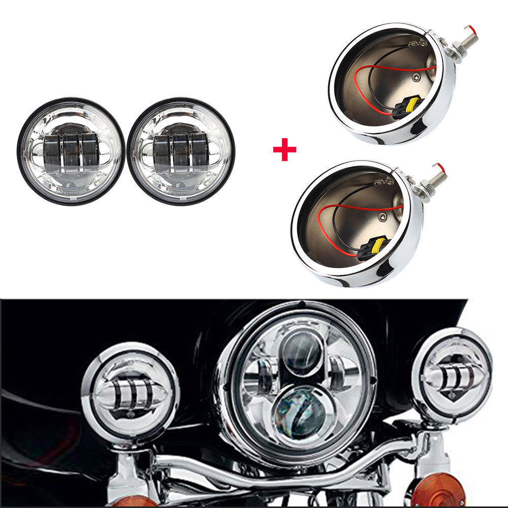 4.5 Inch Housing Bracket Mount Ring Bucket For Fog Passing Light Lamp Motorcycle For Harley Touring Electra