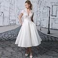 Vintage prom cuello en v manga del casquillo del cordón blanco de longitud de té vestidos de noche dress con vestido formal del partido 2017 de la moda de bolsillo p18