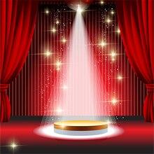 Brilhante Luz Da Estrela Vermelha Cortina Stage Theatre backdrops Vinil Computer impresso photo studio fundo da parede de pano de Alta qualidade