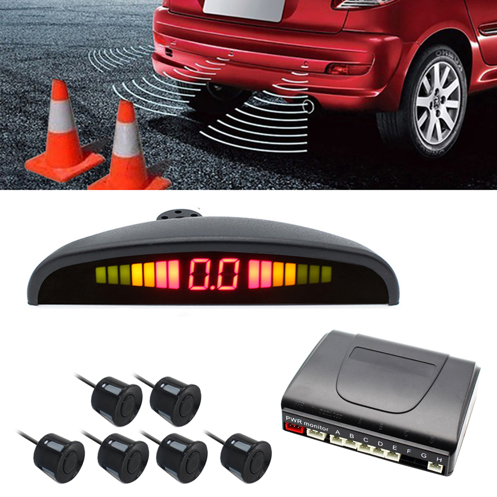 Car Parking Sensors Parktronics 6 LED display 22mm Flat Sensors Reverse Backup Radar Sound Buzzer Alarm Adjustable Sound