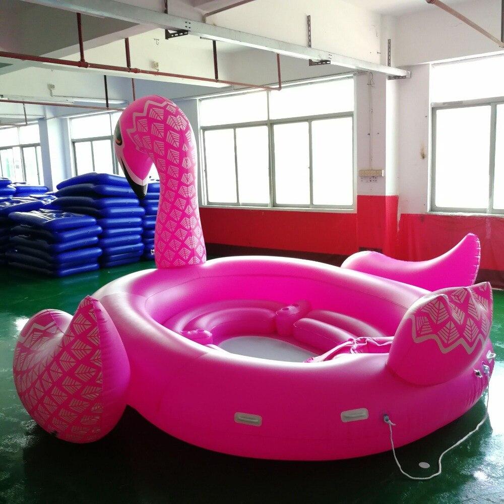 Color Printed Giant Unicorn Pool Float huge Flamingo Island Flamingo Boat for 6 8persons Pool