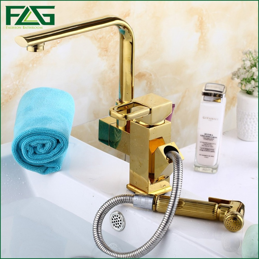 Kitchen Faucet 7 Tube Tap Gold Hand Sprayer Dual Handle Robinet Cuisine  Douchette Cold And Hot Deck Brass Kitchen Faucet FLG8022 In Kitchen Faucets  From ...