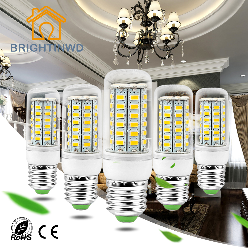BRIGHTINWD 10pcs/lot Bombilla Led E27 220V 24 36 48 56 69leds Corn Bulb SMD 5730 Spotlight Energy Saving Led Lamp Light For Home 1pcs high power e27 7w led light energy saving smd 5730 led bulb home lighting energy saving bulb for living room