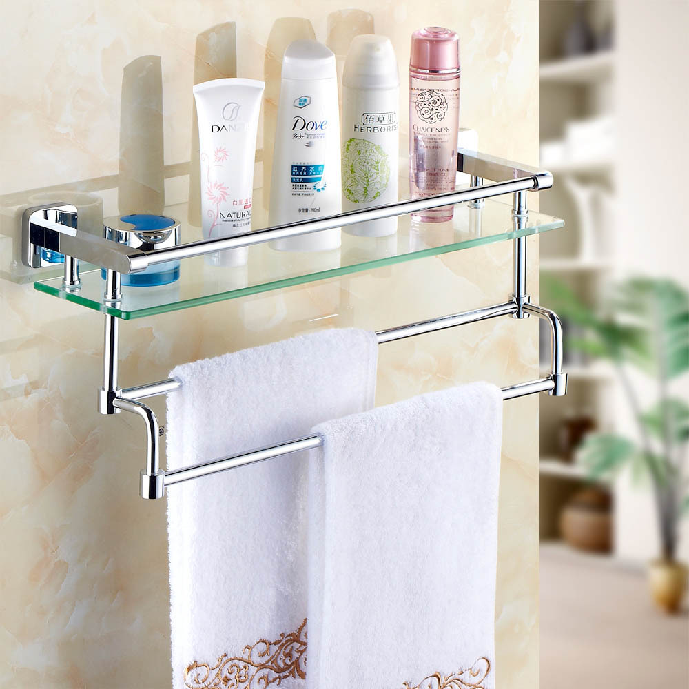 Bathroom Glass Shelves With Towel Bar Home Design