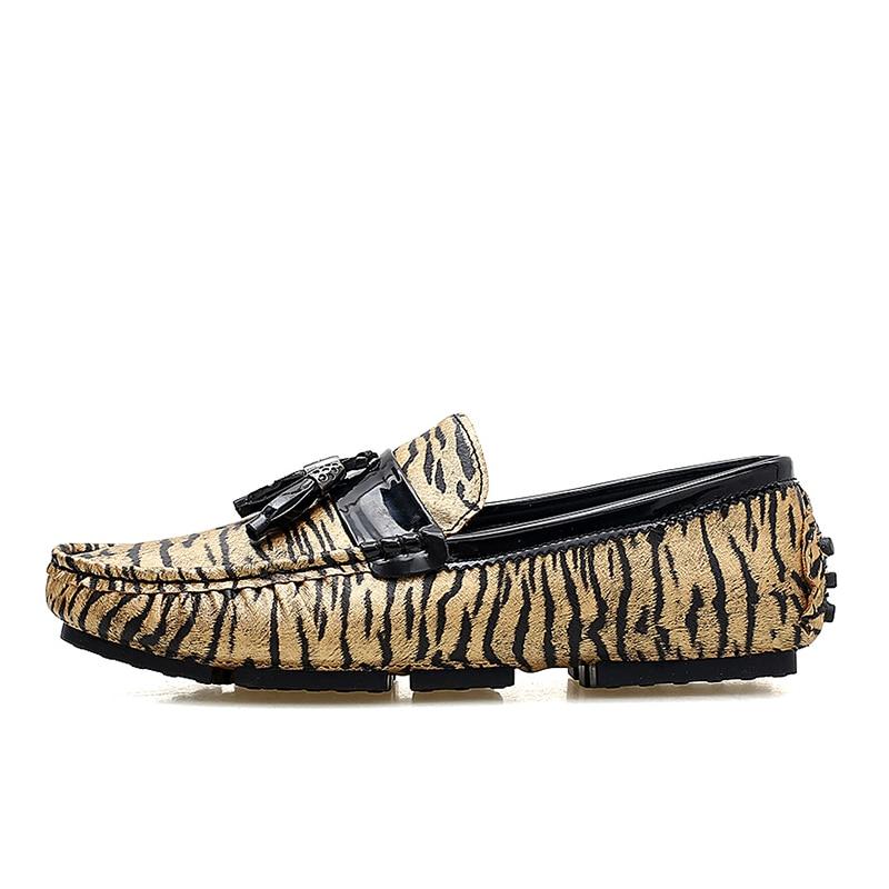 En Décontractée Mariage Hommes Printemps Plat argent Chaussures De Mâle Loveontop Sur Fringe Slip Leopard Mocassins Partie Cuir Automne Or IYnfq