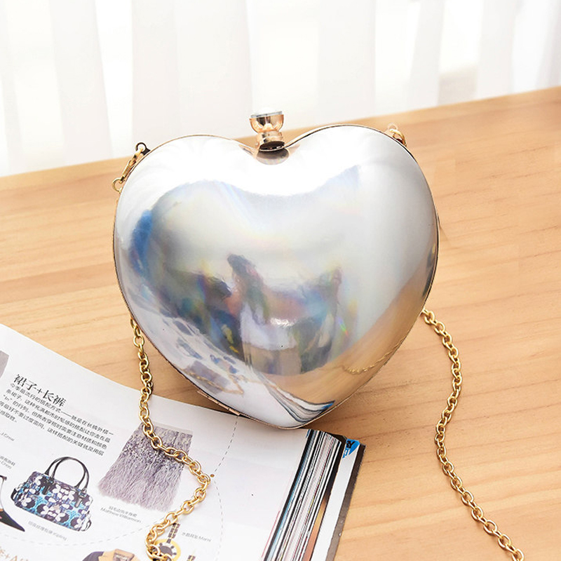 UKQLING Brand Heart shaped Day Clutches Quality Women Evening Bag Hard Box Day Clutch Ladies Shoulder