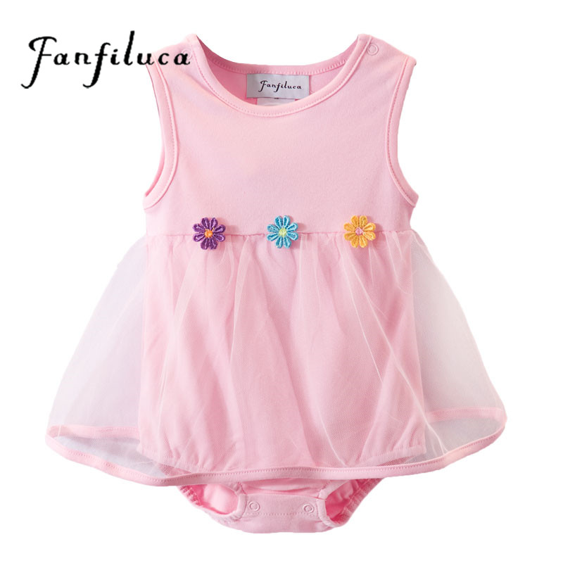 Fanfiluca Three Flower Baby Girl Dress Cotton Soft Lace Newborn Body Suit Baby Romper Clothes
