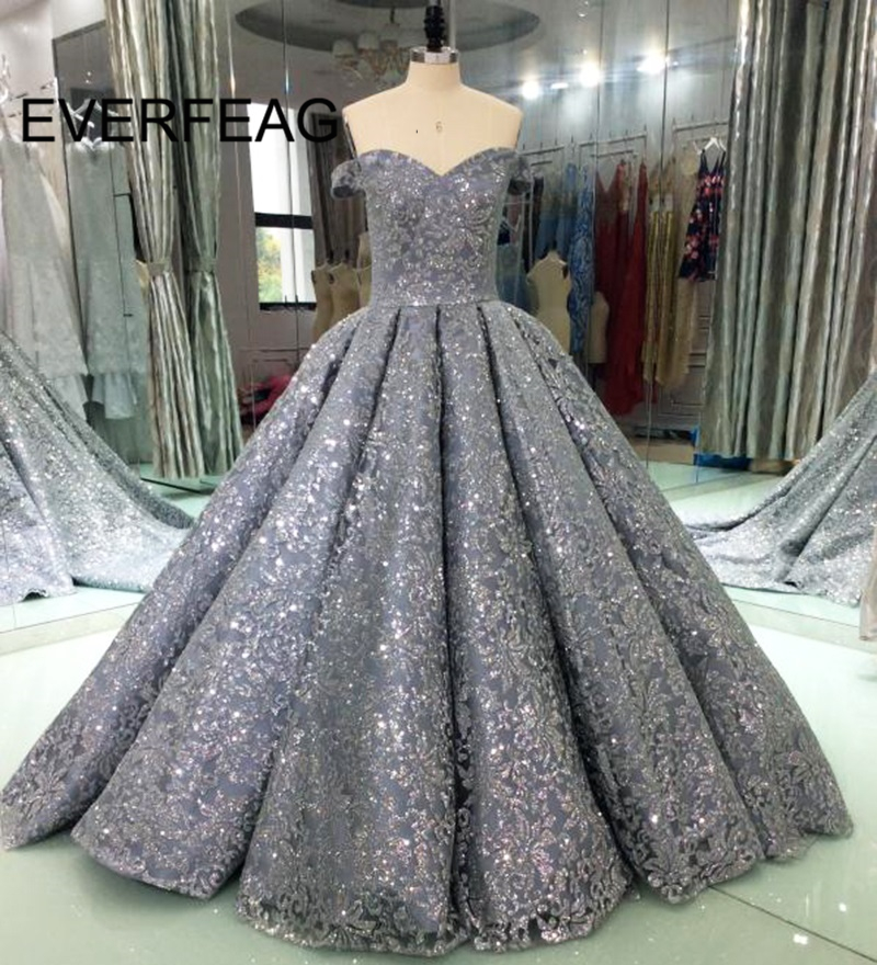 Shining Evening Dresses 2018 Ball Gown Sequin Saudi Arabic