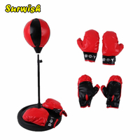 Height Adjustable Sport Boxing Punching Bag With Gloves Punching Ball For Kids 75 105cm Red Black