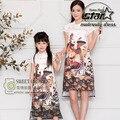 Новая Мода Соответствия Мать Дочь Одежда Цветы Мама Девочки Платья Лето Семья Соответствующие Наряды Печати Длинное Платье