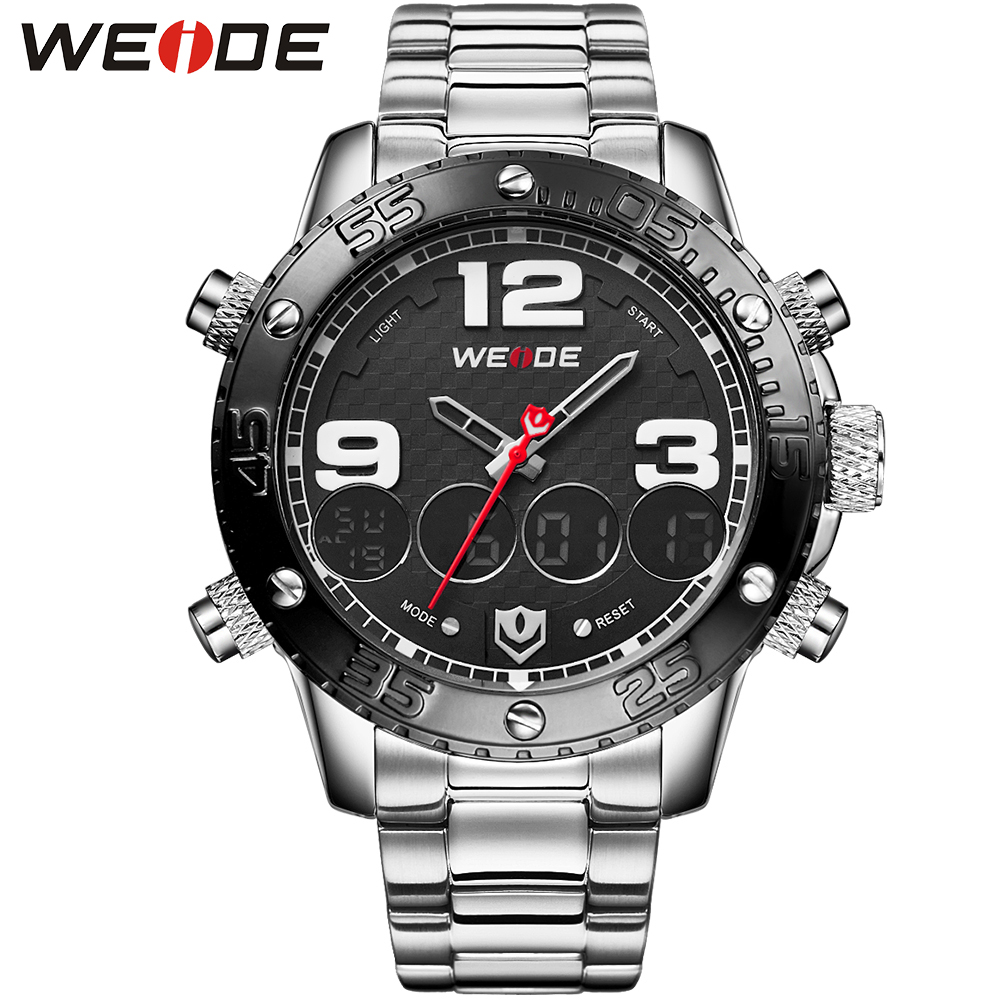 ФОТО WEIDE Brand Sport Watches For Men Digital Dual Time 30m Waterproof  Alarm Back Light Dual Time Zone Stainless Steel Wristwatches