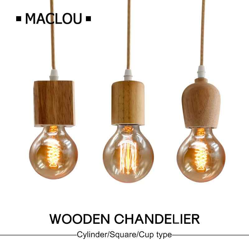 Modern Wooden E27 Pendant Light LED 90-260V Retro Pendant Lamp Suspension Lampshade Bar Coffee Restaurant E27 Holder Lamparas