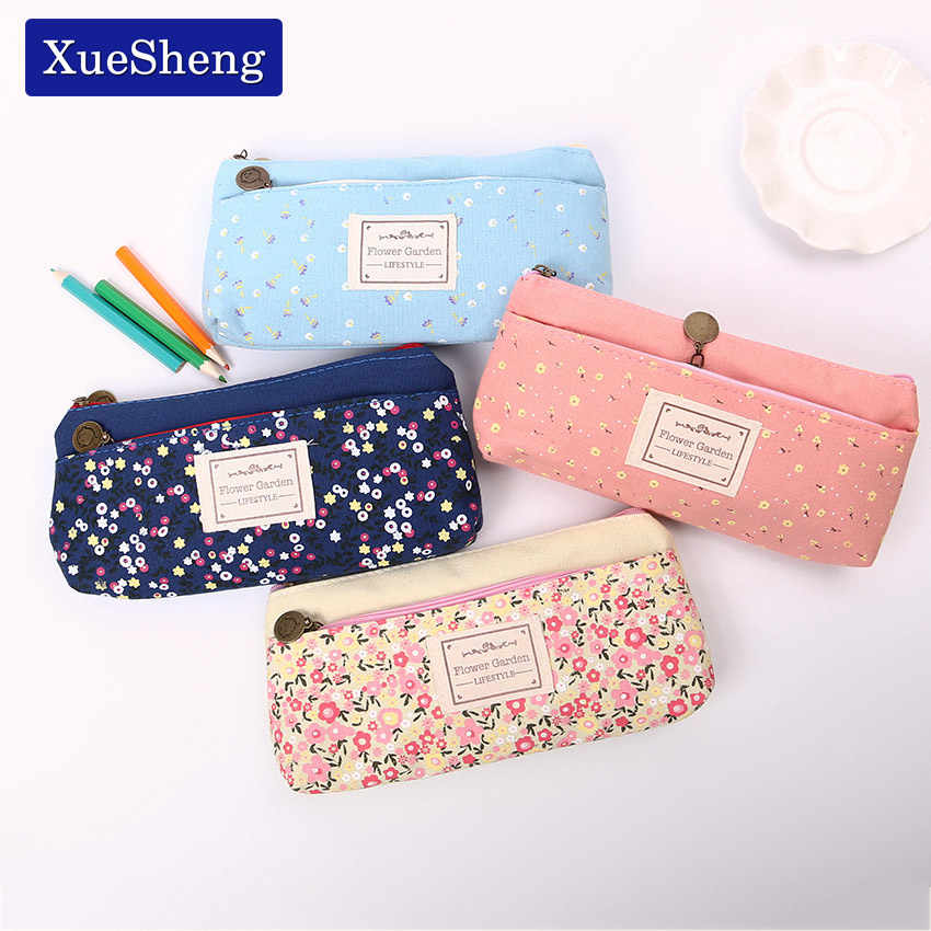Lovely Double Zipper Pencils Case Portable Student Stationery Storage Pencil Bag for School Office Material Supplies