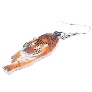 Женские акриловые висячие серьги Bonsny, элегантные длинные висячие серьги с тигром, ювелирные украшения для девочек и женщин, оптовая продажа