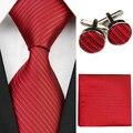 Accesorios Lazos para Los Hombres Patrón de Rayas Sólido Negocio Corbata De Seda Sets Gravatas Corbata Hanky Gemelos Pañuelo Rojo Negro f