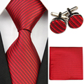 Accessories Ties for Men Solid Striped Pattern Business Silk Tie Sets Hanky Handkerchief Cufflinks Red Black Necktie Gravatas f