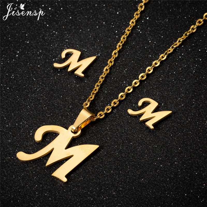Jisensp Personalized A-Z Letter Alphabet Pendant Necklace Gold Chain Initial Necklaces Charms for Women Jewelry Dropshipping 27
