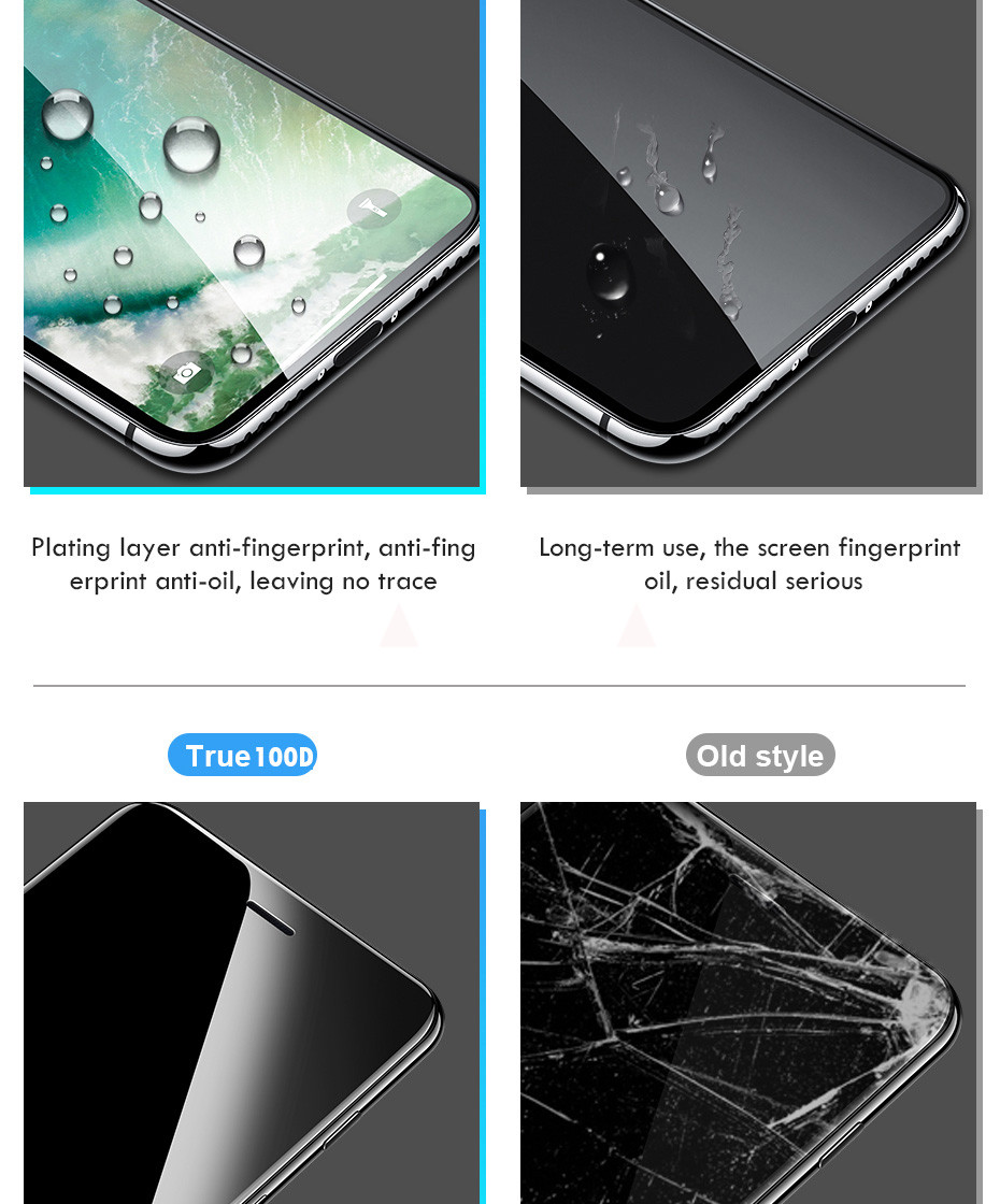 100D Curved Edge Full Cover Protective Glass On The For iPhone 7 8 6 6S Plus Tempered Screen Protector iPhone X XR XS Max Glass 2