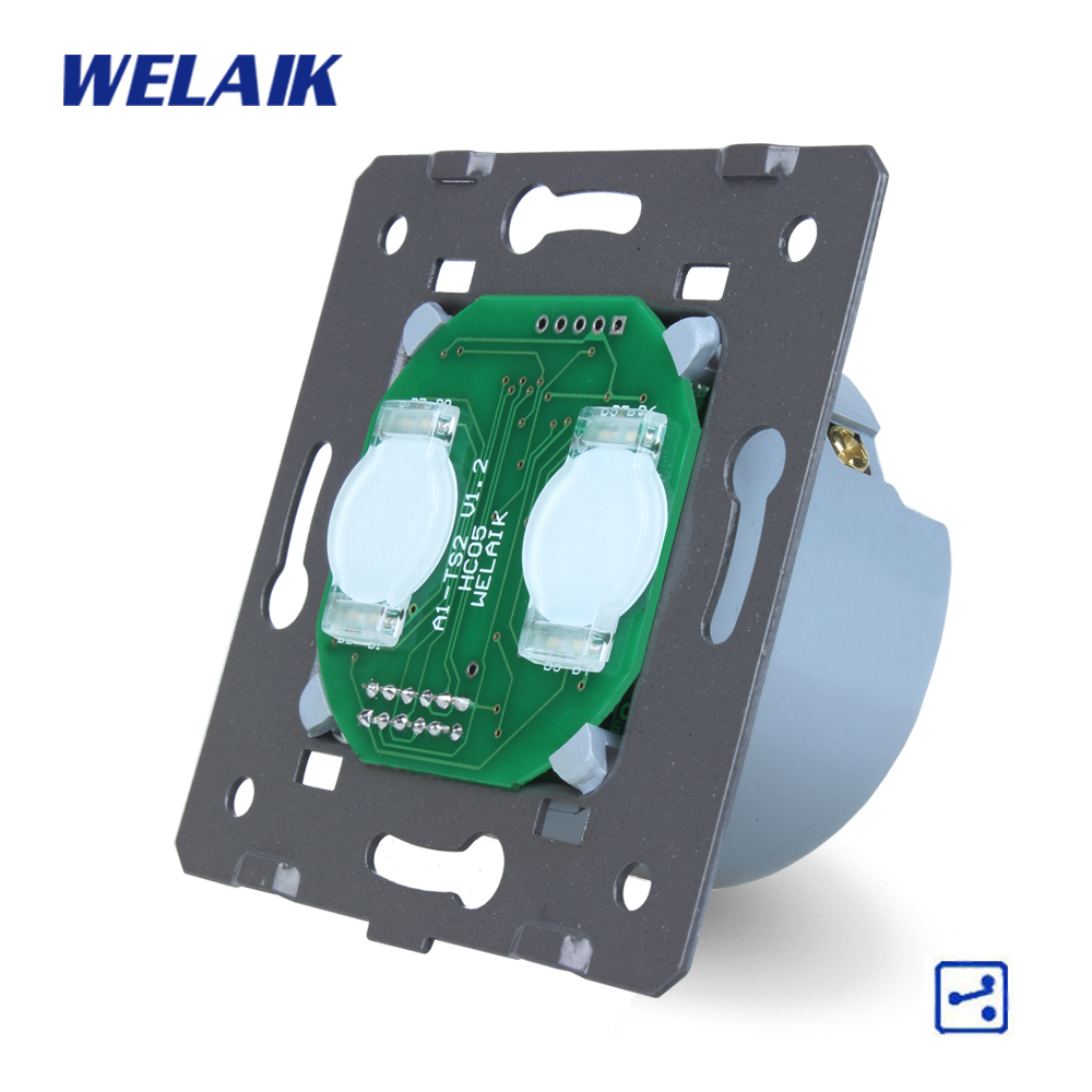 WELAIK  Switch White Wall Switch EU Touch Switch DIY Parts Screen Wall Light Switch 2gang2way AC110~250V A922 welaik glass panel switch white wall switch eu remote control touch switch screen light switch 1gang2way ac110 250v a1914w br01