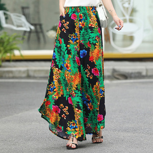 Image 3 - Floral Wide Leg Pants Women Clothing Vintage Trousers Print Harem Flare High Waist Loose Runway Casual 2019 Summer Plus Size