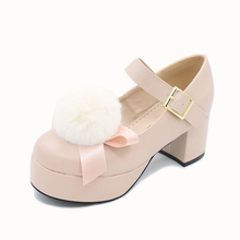 5acce373d4b Lolita Women s Girls Pumps Shoes Round Toe Chunky Heel Platform PU Leather  Buckle Plus Size Shoes