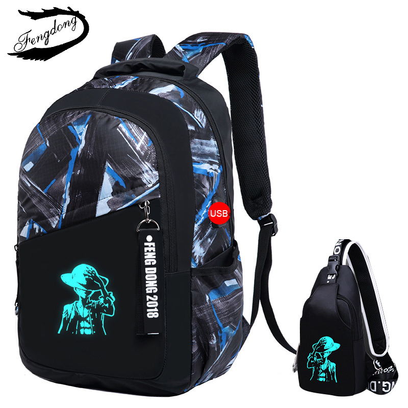 New Luminous Men Backpacks Fashion school student travel backpack Male text book bags For Teenager Boys mochila Bagpack Pack instantarts cute children pug dog backpack men felt travel backpacks for teenege boys 3d animal printed student school bagpack