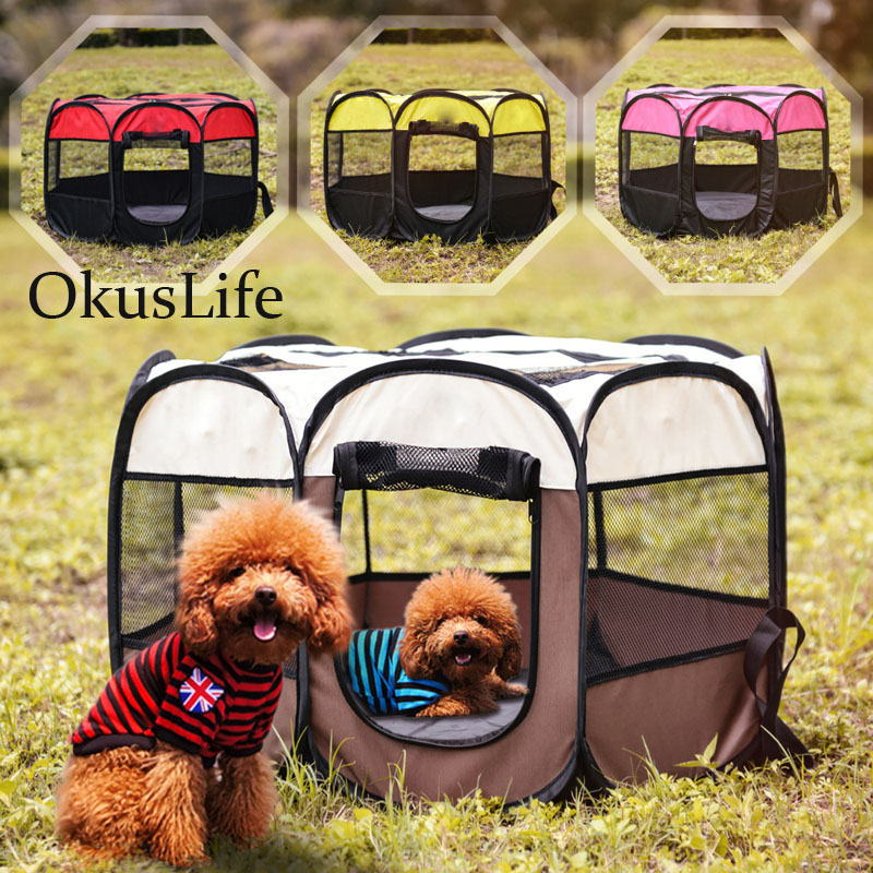 Outdoor Portable Foldable <font><b>Dog</b></font> Playpen Pet Crate Room Puppy Sleep <font><b>Kennel</b></font> Cat Cage Water Resistant Removable Mesh Shade <font><b>Cover</b></font> Case image
