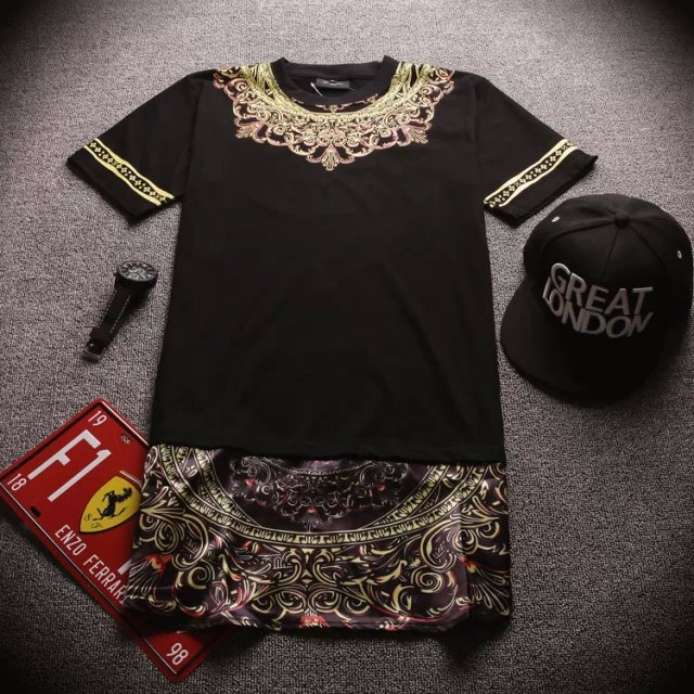 ba271fb7 Extended T-shirt Men fashion hip hop t shirt with printed style longline  shirt t shirts streetwear Mens T shirt Stylish Design