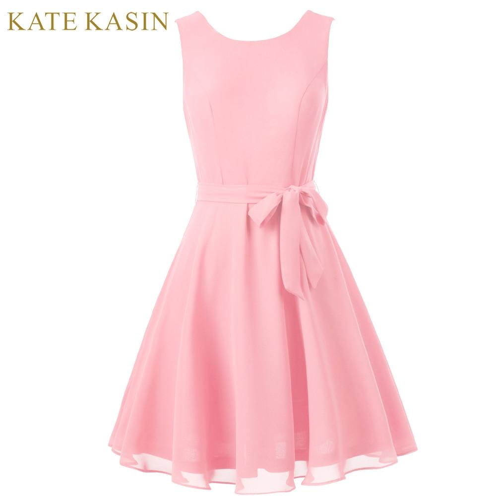 Kate Kasin Purple Pink Short Bridesmaid Dresses 2018 Knee Length Formal Party Dress Chiffon Belt Draped Wedding Bridesmaid Dress
