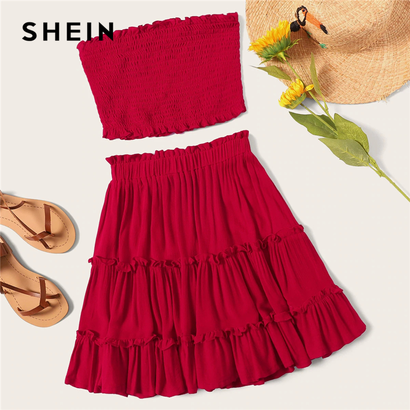 e5a9730d31 SHEIN Burgundy Smocked Bandeau Top And Layered Frill Hem Skirt Set Women  Summer 2019 Sleeveless Beach Style Two Piece Set