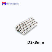 2000Pcs 3 x 8 mm Neodymium Magnet N35 3*8 D3x8 Small Round Mini Strong Super Powerful Magnetic Magnets Disc For Craft 3x8 Dia3x8