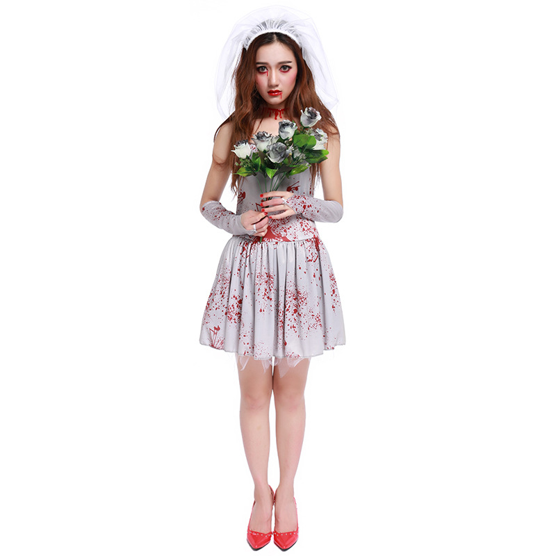 Halloween carnaval kigurumi costume party game role acting cosply dress bloody Mary ghost bride horror costume veil+gloves+dress