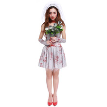 лучшая цена Halloween carnaval kigurumi costume party game role acting cosply dress bloody Mary ghost bride horror costume veil+gloves+dress