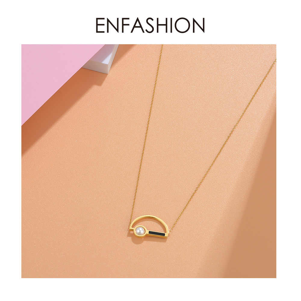 Enfashion Pearl Choker Necklace Women Gold Color Letter D Necklaces Pendants Stainless Steel Gifts Femme Jewelry Collares PD3009