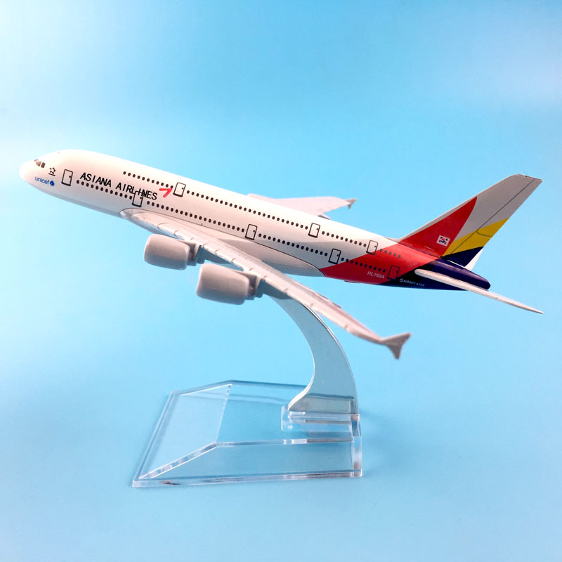 FREE SHIPPING16CM ASIANA AIRLINES  MODEL PLANE AIRCRAFT MODEL  TOY AIRPLANE BIRTHDAY GIFT