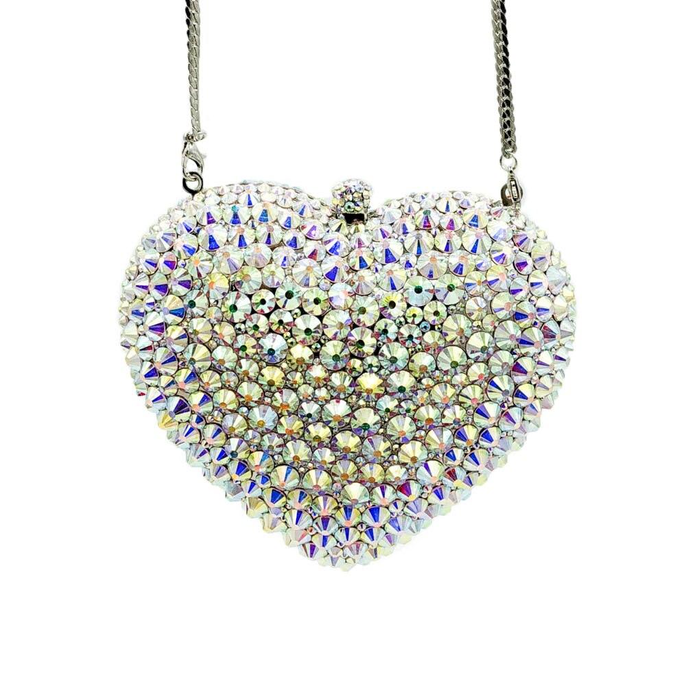Boutique De FGG Silver AB Women Heart Crystal Evening Clutch Bags with Spikes Bridal Handbag Wedding Party Minaudiere Purse