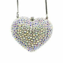 Boutique De FGG Silver AB Women Heart Crystal Evening Clutch Bags with Spikes Bridal Handbag Wedding Party Minaudiere Purse