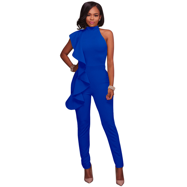 74d5f65e0219 Fashion Bodysuit Women Side Ruffle Cold Shoulder Jumpsuit High Neck  Sleeveless Playsuit Slim Party Club Bodysuit Rompers female