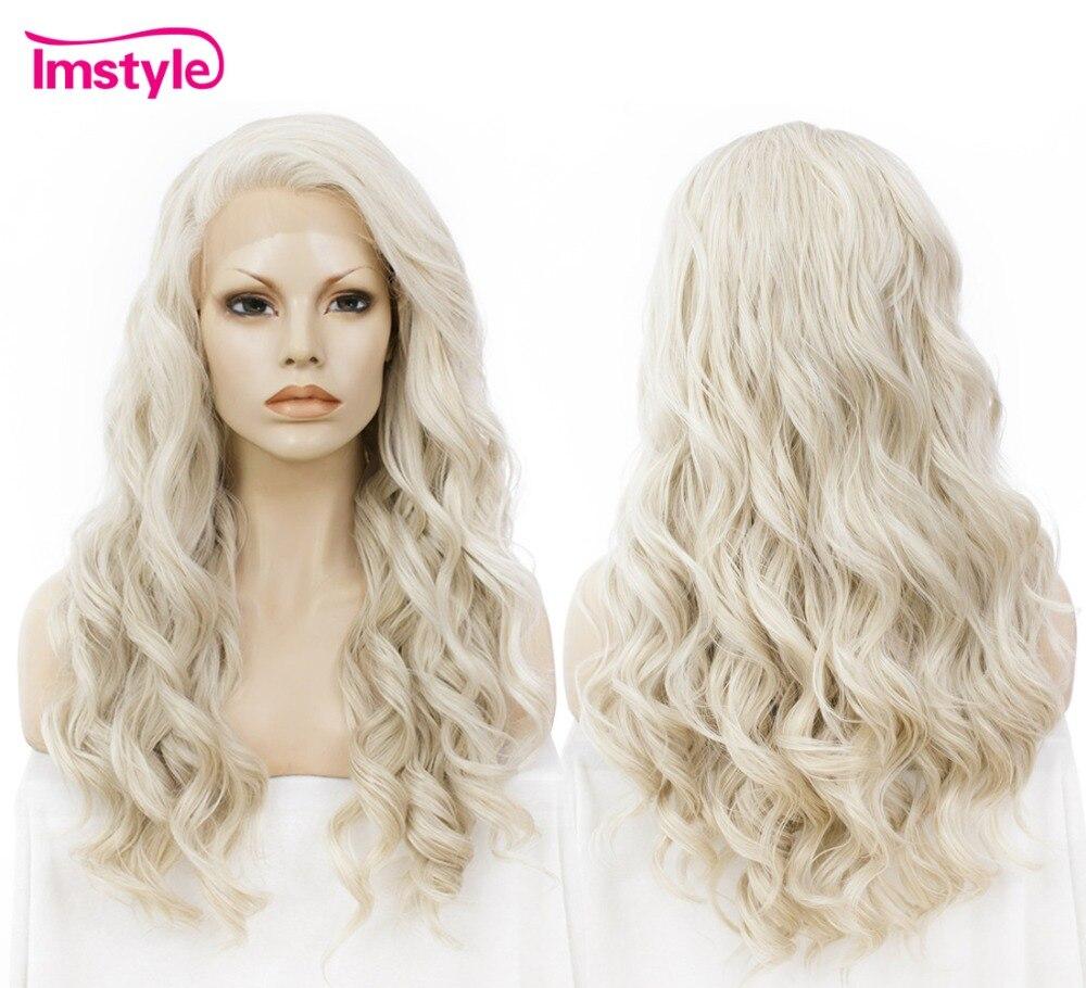 Imstyle Волнистые парик мед пепельный блондин 24 синтетические кружева спереди парик для женщин жаропрочных волокна кружева парик косплей