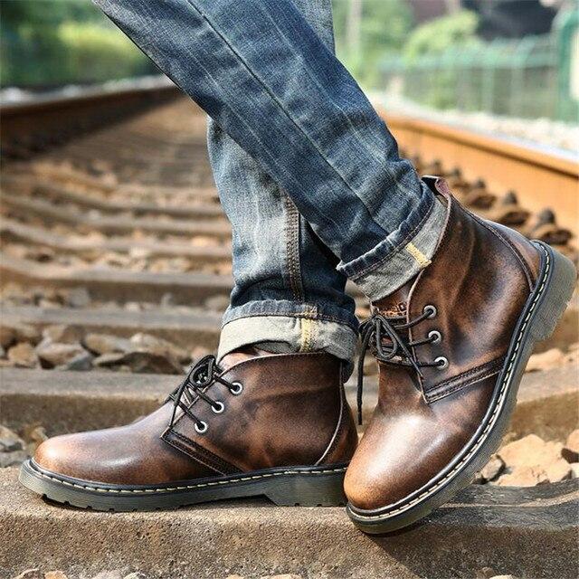 Invierno Martin botas de Los Hombres botas de Moto de cuero Genuino de la Vendimia del Otoño del Invierno de los hombres zapatos de tobillo botas de los hombres de Gran tamaño 38-47