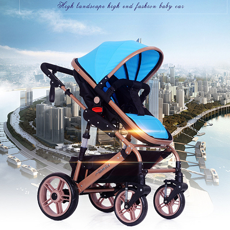 Baby car high landscape newborns folding four wheel bi-directional shockproof hand pushcart nine colors 2 and 1 free delivery