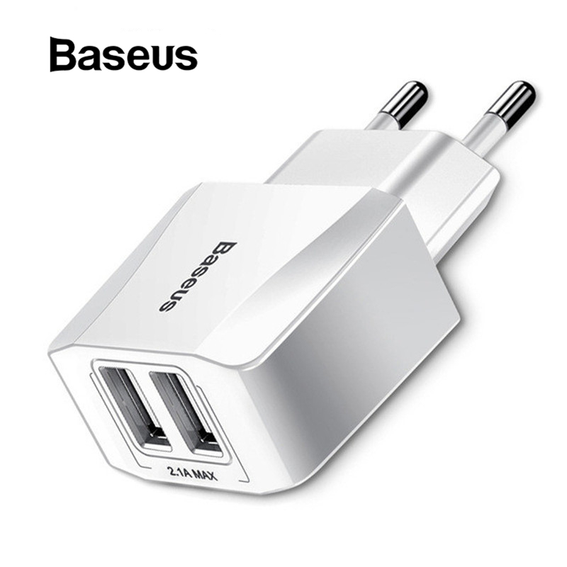 Baseus Dual USB Mobile Phone EU Plug Travel Wall Charger Adapter Samsung Xiaomi