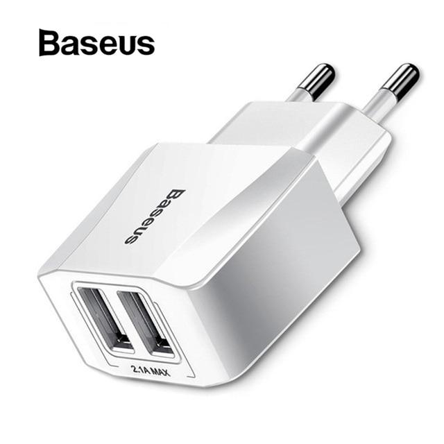 Baseus Dual USB cargador teléfono móvil de la UE del cargador de viaje enchufe de pared para adaptador cargador iPhone iPad Samsung Xiaomi cargador de teléfono