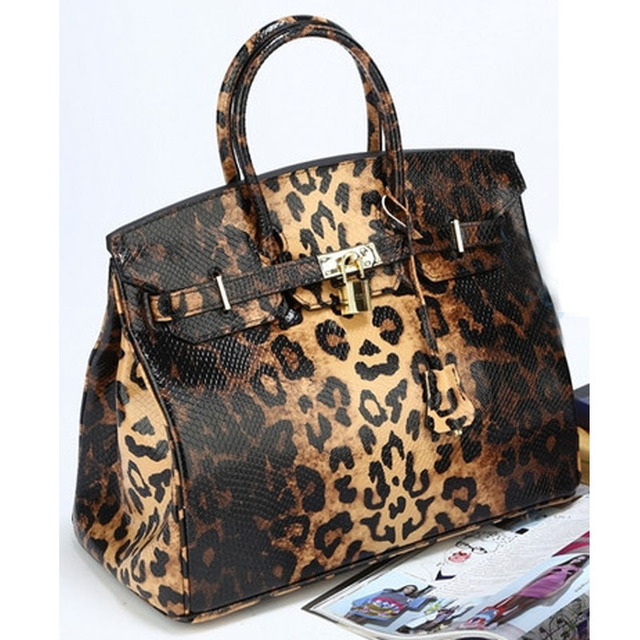 High Quality luxurious brand designer leopard pattern Bags Women GENUINE LEATHER