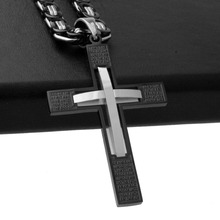 Trendy Stainless Steel Silver Black Hot Christian Jesus Rune Cross Pendant With 5mm Byzantine Chain Necklace Men's Boy's Jewelry